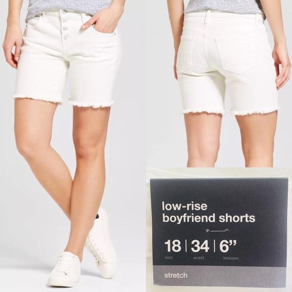 Size 00 White Mossimo Women/'s Mid Rise Bermuda Denim Cuffed Jean Shorts